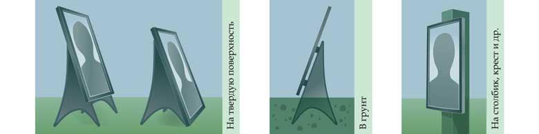 способы установки фоторамки на крест, в земли, на поверхность